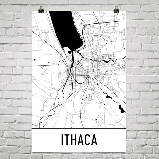 Ithaca NY Street Map Poster White