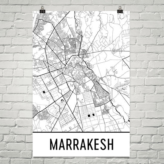 Marrakesh Street Map Poster White