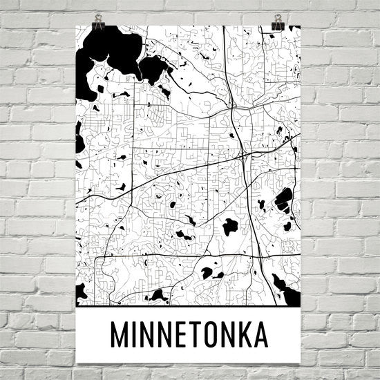 Minnetonka MN Street Map Poster White