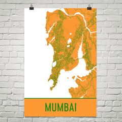 Mumbai India Street Map Poster Yellow