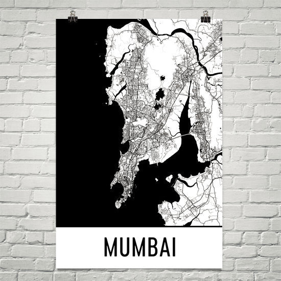 Mumbai India Street Map Poster White