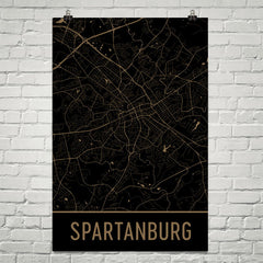 Spartanburg SC Street Map Poster Black