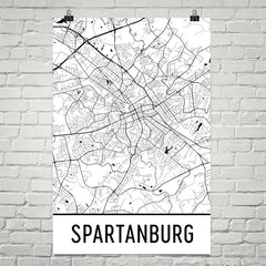 Spartanburg SC Street Map Poster White