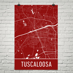Tuscaloosa AL Street Map Poster Red