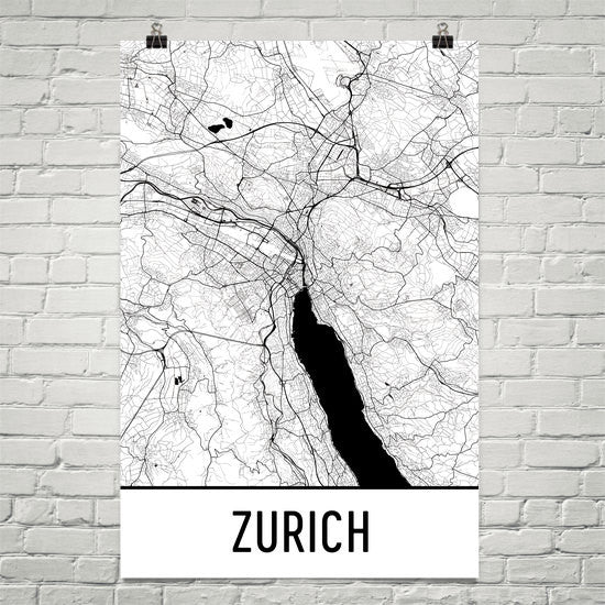 Zurich Street Map Poster White