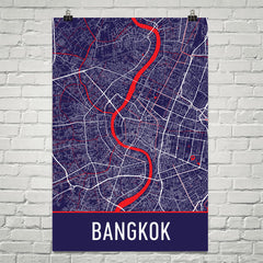 Bangkok Street Map Poster Blue