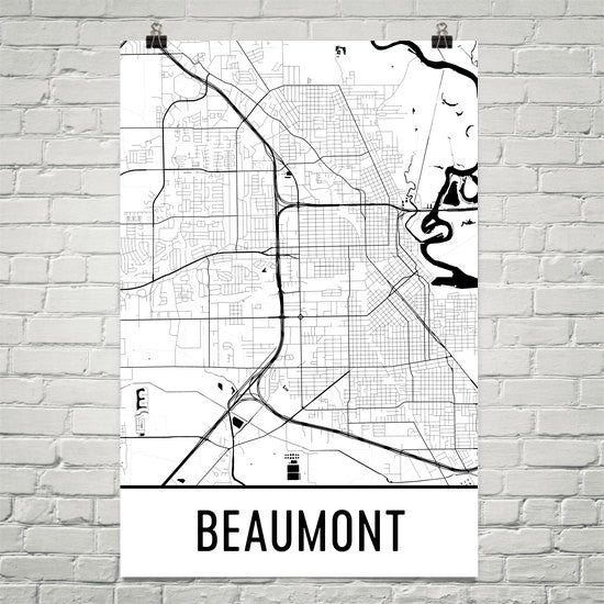 Beaumont TX Street Map Poster White