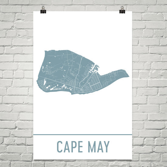 Cape May NJ Street Map Poster White