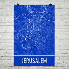 Jerusalem Street Map Poster Blue