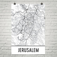 Jerusalem Street Map Poster White