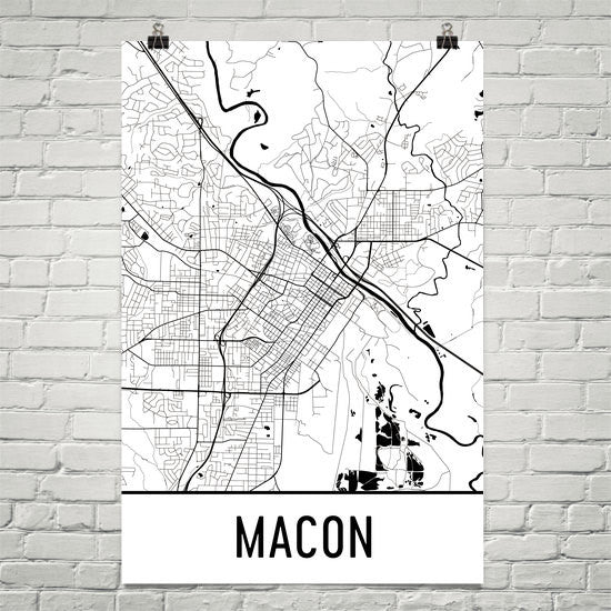 Macon GA Street Map Poster White