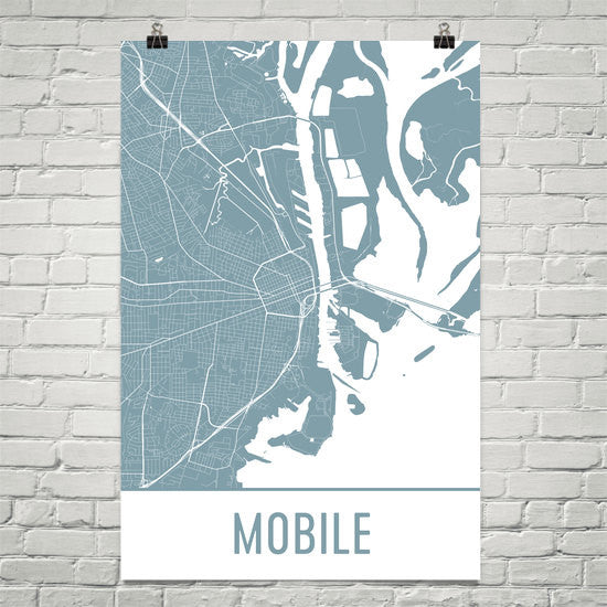 Mobile AL Street Map Poster White