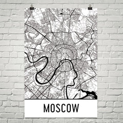 Moscow Street Map Poster White