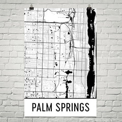 Palm Springs FL Street Map Poster Tan and Blue