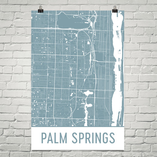 Palm Springs FL Street Map Poster White