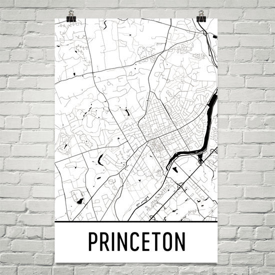Princeton NJ Street Map Poster White