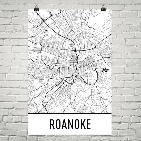 Roanoke VA Street Map Poster White
