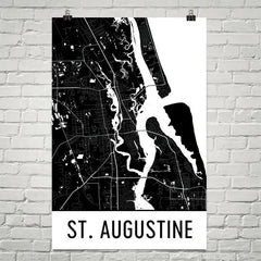 St. Augustine FL Street Map Poster Tan and Blue