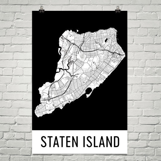 Staten Island NY Street Map Poster White