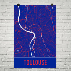 Toulouse France Street Map Poster Blue