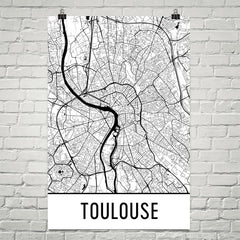 Toulouse France Street Map Poster White