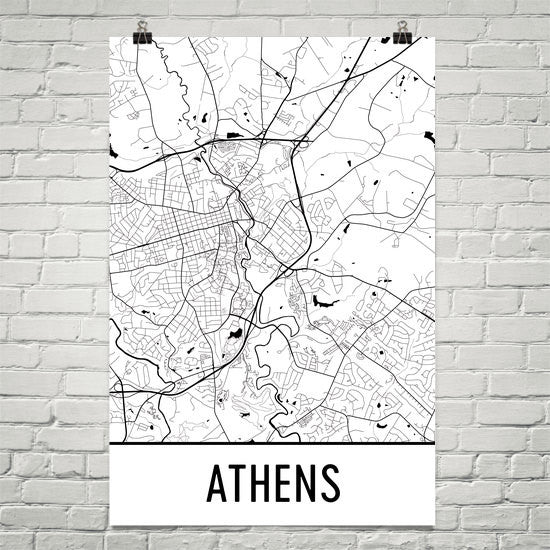 Athens Street Map Poster White