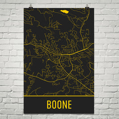 Boone NC Street Map Poster Black