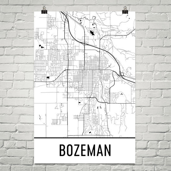 Bozeman MT Street Map Poster White