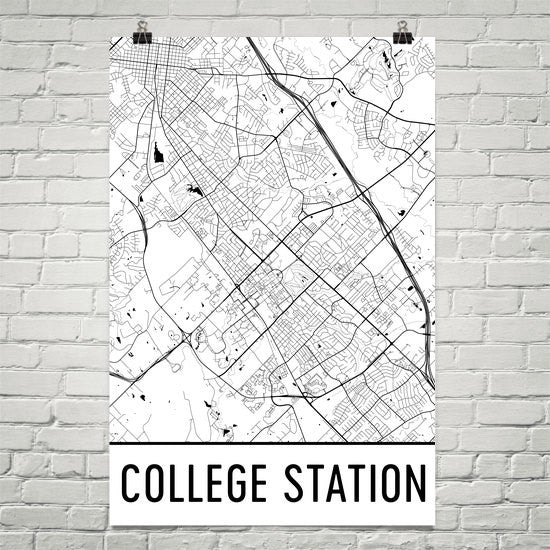 College Station TX Street Map Poster White