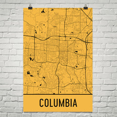 Columbia MO Street Map Poster Yellow