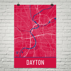 Dayton OH Street Map Poster Red