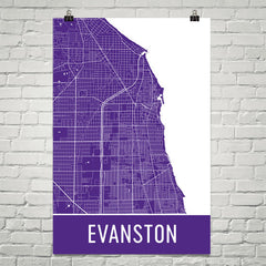 Evanston IL Street Map Poster Purple