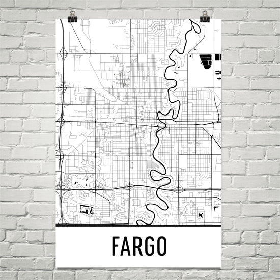 Fargo ND Street Map Poster White