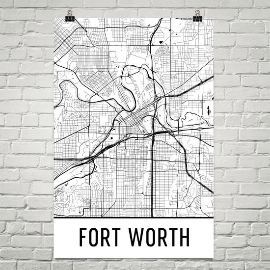 Fort Worth TX Street Map Poster White