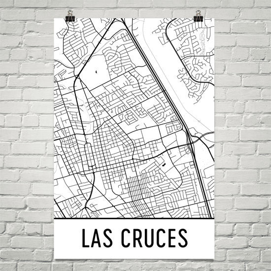 Las Cruces NM Street Map Poster White