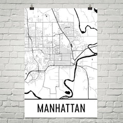 Manhattan KS Street Map Poster White