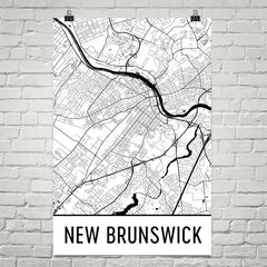 New Brunswick Street Map Poster White