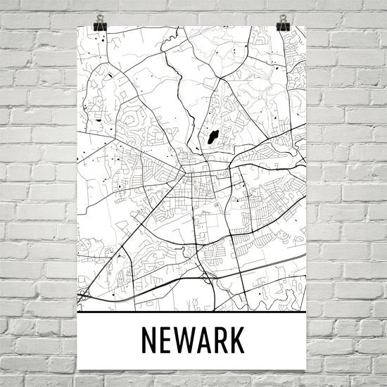Newark DE Street Map Poster White