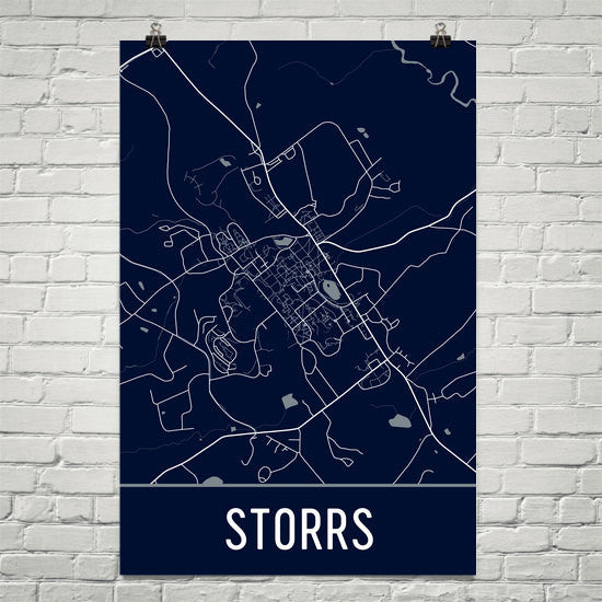 Storrs CT Street Map Poster White