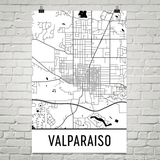 Valparaiso IN Street Map Poster White