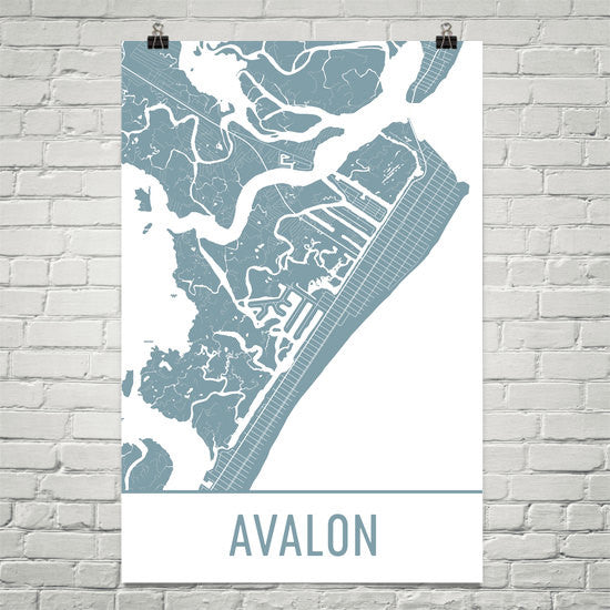 Avalon NJ Street Map Poster White