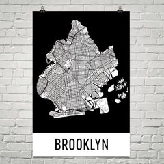 Brooklyn NY Street Map Poster Black Text