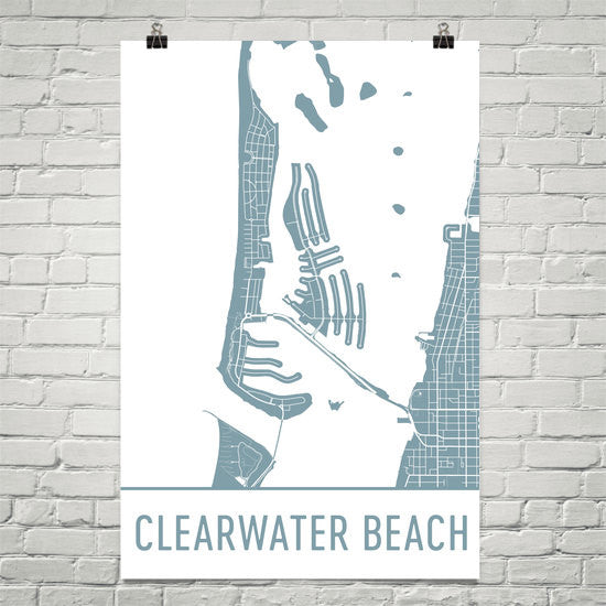 Clearwater FL Street Map Poster White