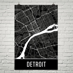 Detroit MI Street Map Poster Black Text