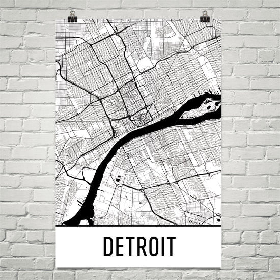 Detroit MI Street Map Poster White Text