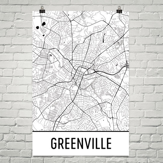 Greenville SC Street Map Poster White Text