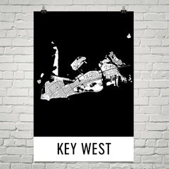 Key West FL Street Map Poster Black