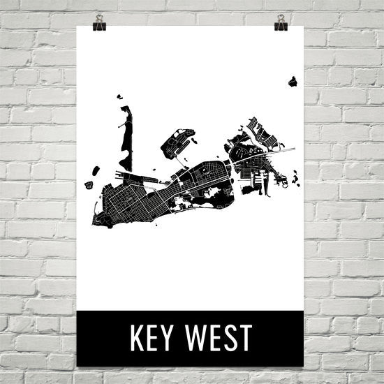 Key West FL Street Map Poster White