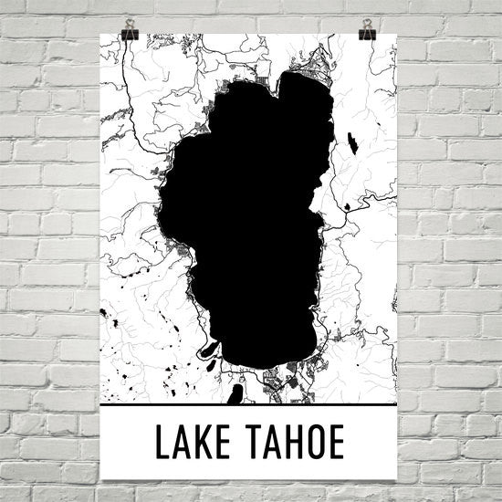 Lake Tahoe CA Street Map Poster White