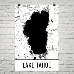 Lake Tahoe CA Map, Art, Print, Poster, Wall Art From $29.99 - ModernMapArt - Modern Map Art